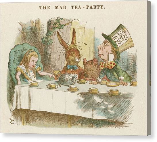 March Hare Canvas Print - Alice At The Mad Hatter's  Tea Party by Mary Evans Picture Library