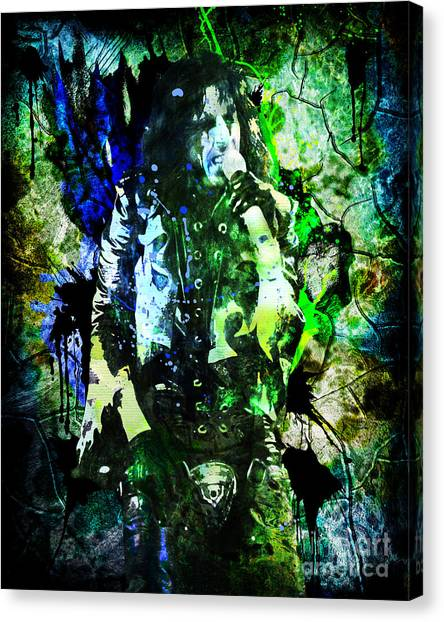 Alice Cooper Canvas Print - Alice Cooper - Feed My Frankenstein - Original Painting Print by Ryan Rock Artist