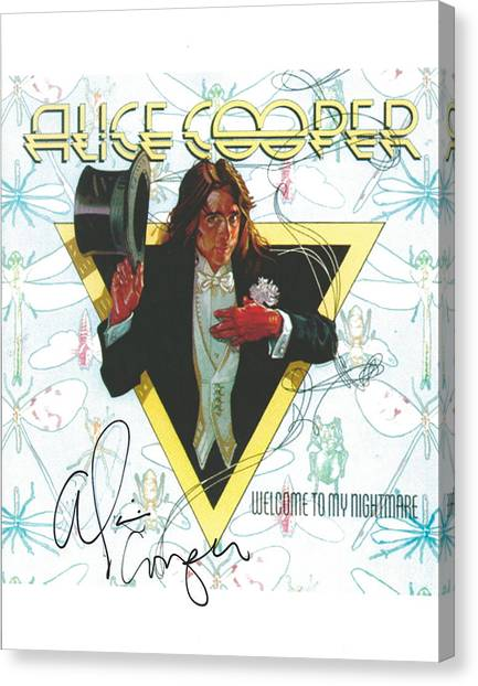 Alice Cooper Canvas Print - Alice Cooper Original Signature On Welcome To My Nightmare Album Artwork. by Desiderata Gallery