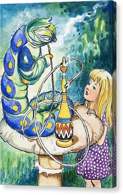 Caterpillers Canvas Print - Alice In Wonderland Hookah by Philip Mendoza
