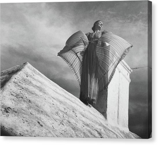 Arms Outstretched Canvas Print - Alice-leone Moats Wearing A Striped Dress by Horst P. Horst