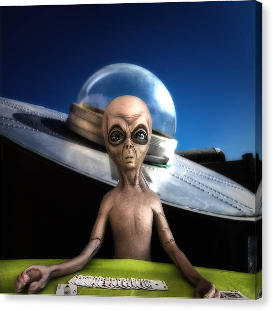 Illegal Aliens Canvas Print - Alien Black Jack by Gary Warnimont