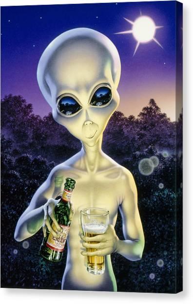Space Ships Canvas Print - Alien Brew by Steve Read