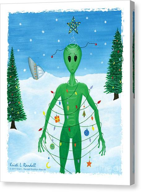 Alien Christmas Out Of This World Canvas Print by Kristi L Randall