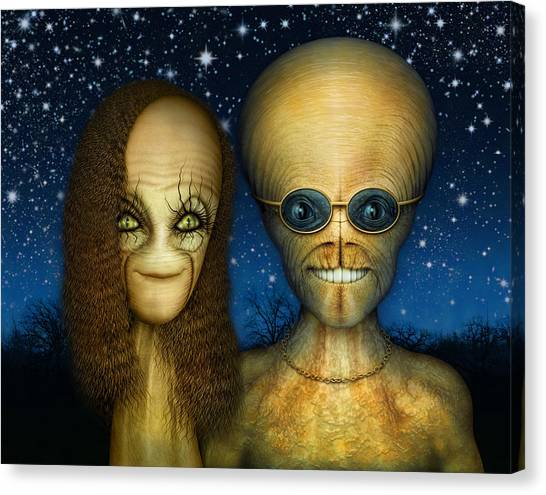 Alien Couple Canvas Print
