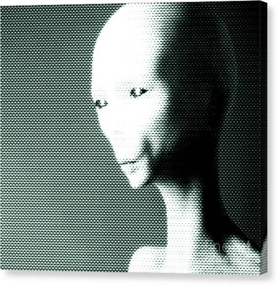 Monster Ufo Canvas Print - Alien Grey Pattern by Pixel  Chimp
