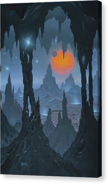 Stalagmites Canvas Print - Alien Landscape by David A. Hardy/science Photo Library