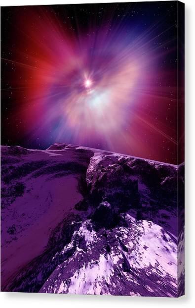 Pulsar Canvas Print - Alien Planet And Pulsar by Detlev Van Ravenswaay