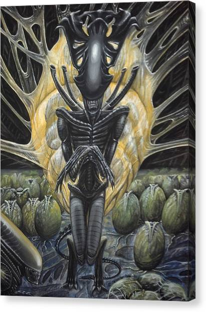 Canvas Print featuring the painting Alien Queen And Her Hive by Jennifer Hotai