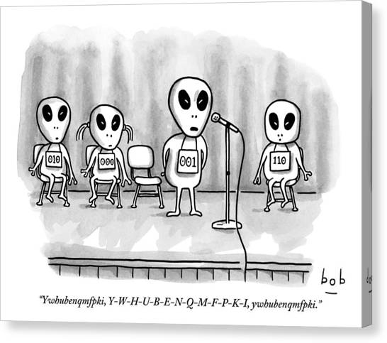 Aliens Participating In A Spelling Bee Canvas Print