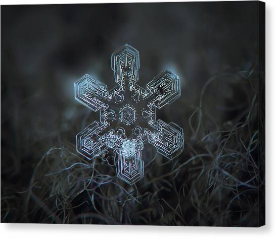 Canvas Print featuring the photograph Snowflake Photo - Alioth by Alexey Kljatov