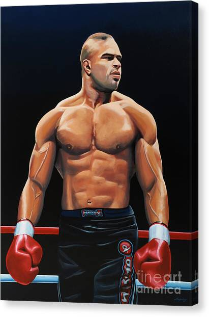 Fighting Canvas Print - Alistair Overeem by Paul Meijering