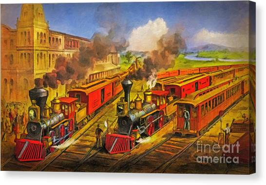 Train Conductor Canvas Print - All Aboard The Lightning Express 1874 by Lianne Schneider