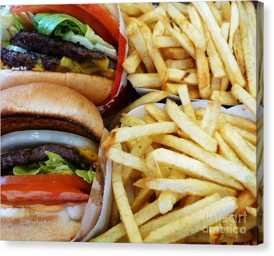 All American Cheeseburgers And Fries Canvas Print