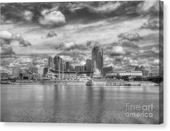 Cincinnati Reds Canvas Print - All American City 2 Bw by Mel Steinhauer