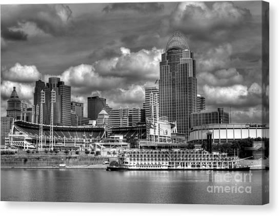 Cincinnati Reds Canvas Print - All American City Bw by Mel Steinhauer