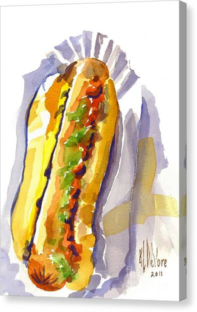 Hot Dogs Canvas Print - All Beef Ballpark Hot Dog With The Works To Go In Broad Daylight by Kip DeVore