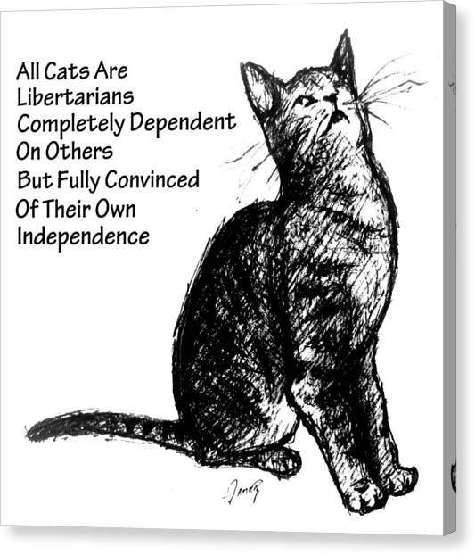Libertarian Canvas Print - All Cats Are Libertarians by Mary Fanning
