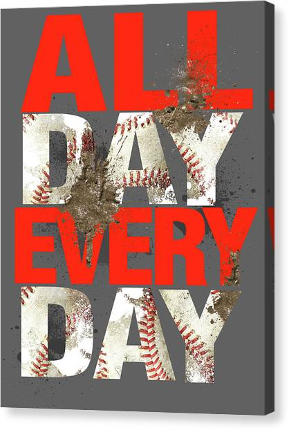 Softball Canvas Print - All Day Every Day by Jim Baldwin