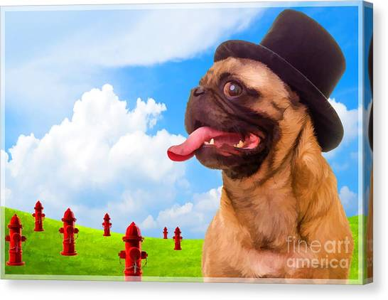 Pugs Canvas Print - All Dogs Go To Heaven by Edward Fielding