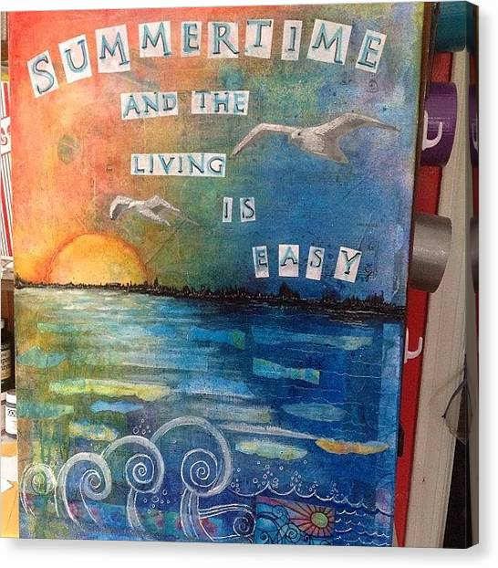 Summer Canvas Print - All Done. ..i Think #summer #mixedmedia by Robin Mead