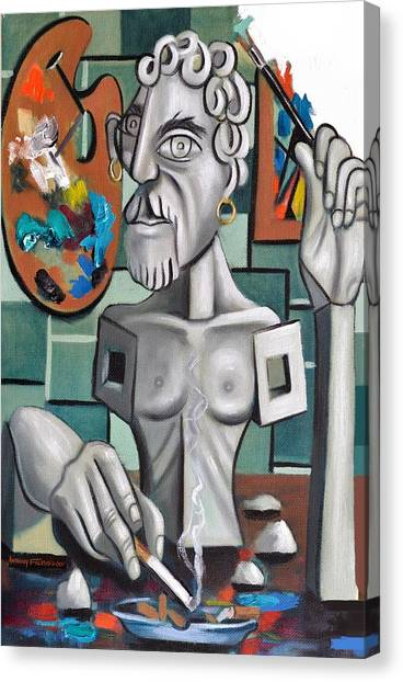 Clay Canvas Print - All In A Days Work Self Portrait by Anthony Falbo