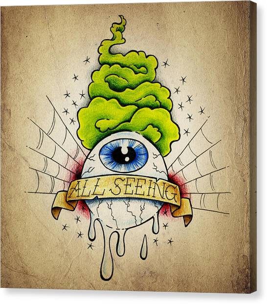 Tattoo Canvas Print - All Seeing Eye by Samuel Whitton