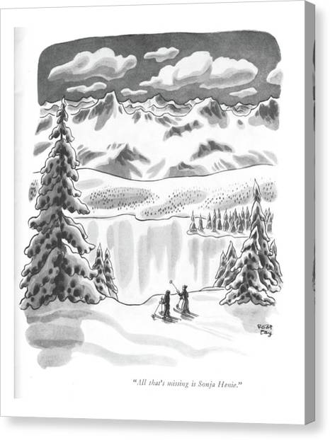 Figure Skating Canvas Print - All That's Missing Is Sonja Henie by Robert J. Day