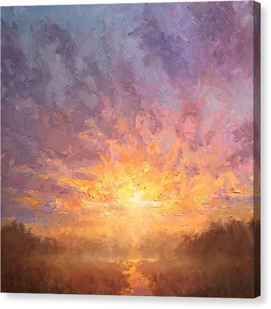 Impressionistic Sunrise Landscape Painting Canvas Print