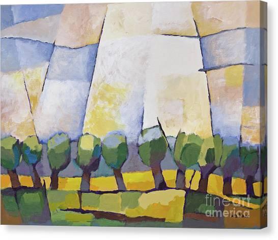 Allee Mit Rapsfeld Canvas Print