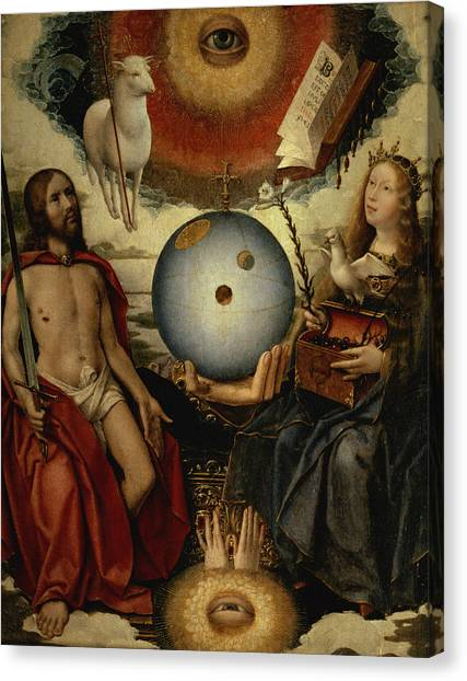 Celestial Globe Canvas Print - Allegory Of Christianity Oil On Panel by Jan II Provost