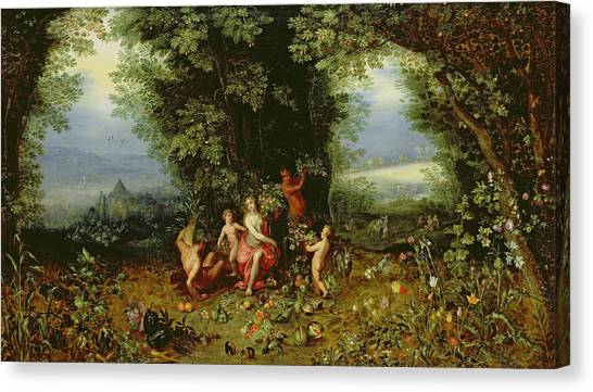 Faun Canvas Print - Allegory Of The Earth by Brueghel and Balen