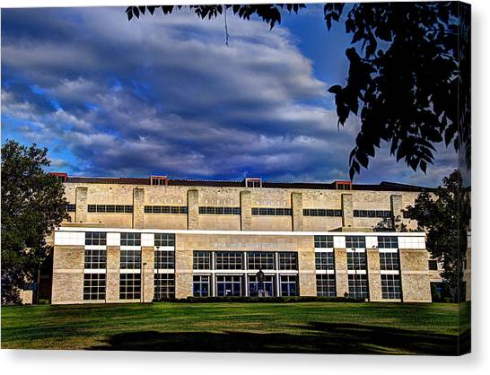 University Of Kansas Canvas Print - Allen Fieldhouse At Daybreak by Jean Hutchison