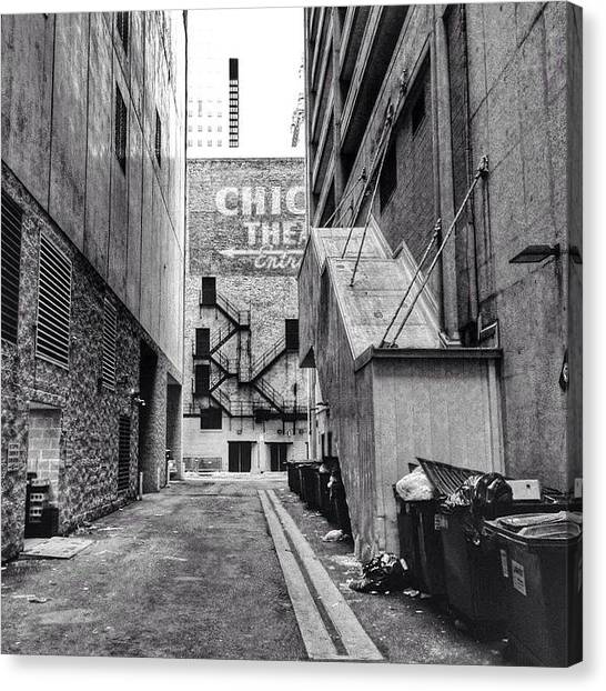 Sears Tower Canvas Print - Alley By The Chicago Theatre #chicago by Paul Velgos
