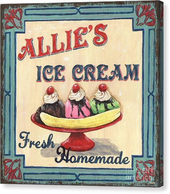 Strawberry Canvas Print - Allie's Ice Cream by Debbie DeWitt