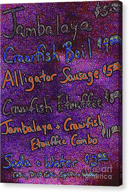 Jambalaya Canvas Print - Alligator Sausage For Five Dollars 20130610 by Wingsdomain Art and Photography