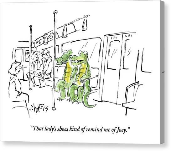 Crocodiles Canvas Print - Alligators Riding The Subway by Sidney Harris