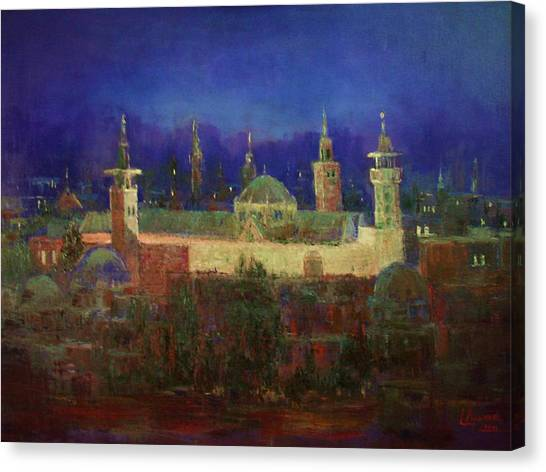 Almasjed Alamawe At Night - Damascus - Syria Canvas Print