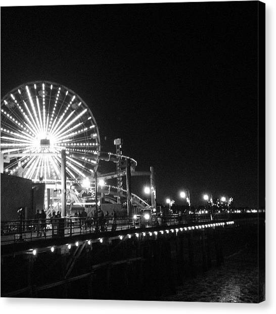 Santa Monica Pier Canvas Print - Christmas On The Pier by Jesse Freeman