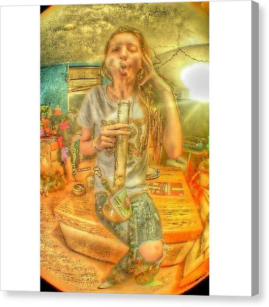 Marijuana Canvas Print - Almost Have The Hang Of It. #smokering by McKinley Thueson