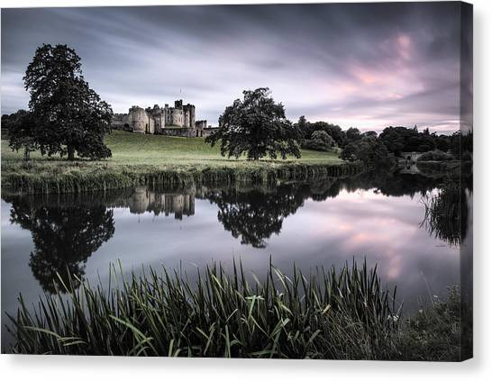 Fortification Canvas Print - Alnwick Castle Sunset by Dave Bowman