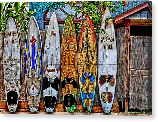 Surfboard Fence Canvas Print - Aloha Y'all by DJ Florek