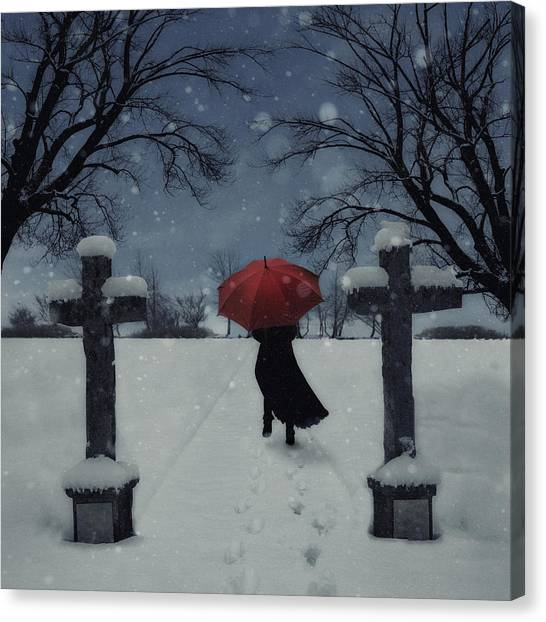 Running Backs Canvas Print - Alone In The Snow by Joana Kruse