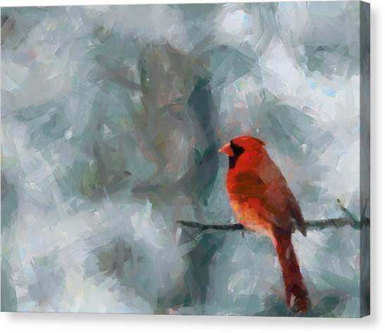 Alone Red Bird Canvas Print