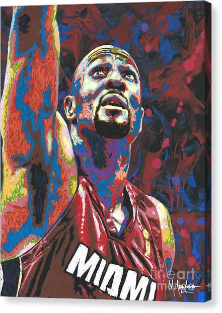 Miami Heat Canvas Print - Alonzo Mourning by Maria Arango