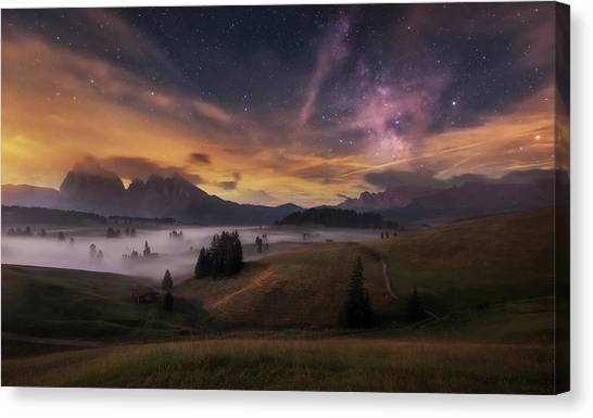 Countryside Canvas Print - Alpe Di Siusi At Night by Ales Krivec