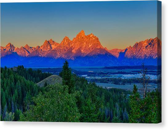 Alpenglow Across The Valley Canvas Print