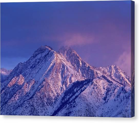 Uinta Canvas Print - Alpenglow On Mount Olympus by Howie Garber