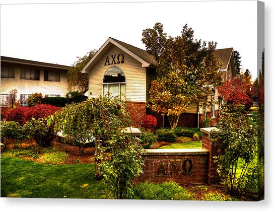 Chi Omega Canvas Print - Alpha Chi Omega Sorority On The Wsu Campus by David Patterson