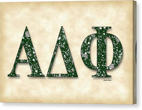 Alpha Phi Alpha Canvas Print - Alpha Delta Phi - Parchment by Stephen Younts